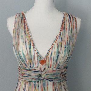 eci NEW YORK silk watercolor maxi dress.